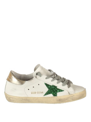 Golden Goose: trainers - Green glitter patch Superstar shoes