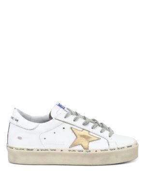 GOLDEN GOOSE: sneakers - Sneaker Hi Star pelle bianca con maxi suola