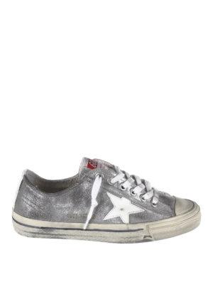GOLDEN GOOSE: sneakers - Sneaker V-Star2 in pelle glitterata