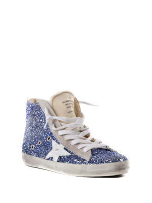 Golden Goose: trainers online - Francy blue glitter hi-top sneakers