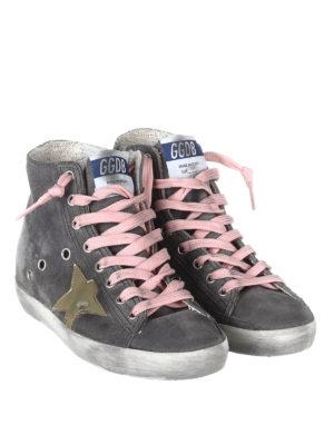 Golden Goose: trainers online - Francy grey suede high top sneakers
