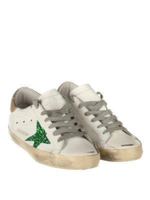 Golden Goose: trainers online - Green glitter patch Superstar shoes