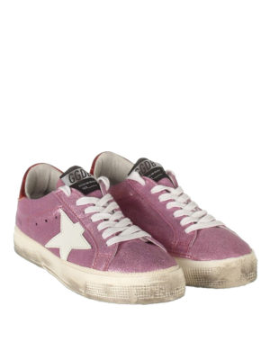 Golden Goose: trainers online - May glittered leather sneakers