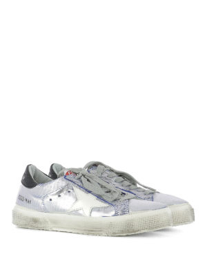 Golden Goose: trainers online - May metallic leather sneakers