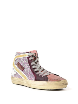 Golden Goose: trainers online - Slide glitter and leather sneakers
