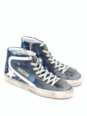 Golden Goose: trainers online - Slide ripped denim sneakers