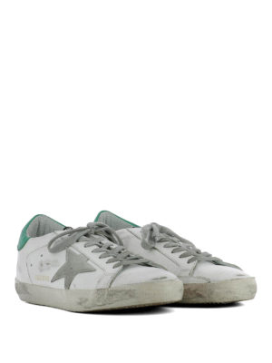 Golden Goose: trainers online - Superstar green detail sneakers