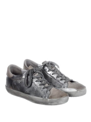 Golden Goose: trainers online - Superstar laminated silver sneakers