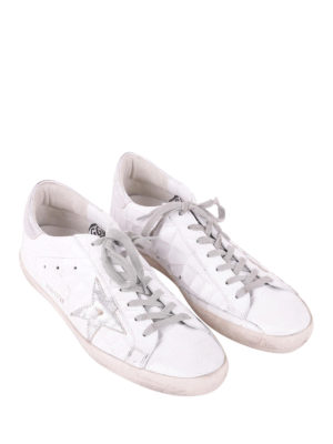 Golden Goose: trainers online - Superstar silver and croco sneakers