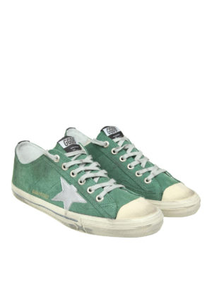 Golden Goose: trainers online - V-Star 2 green suede sneakers