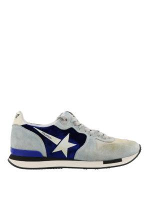 GOLDEN GOOSE: sneakers - Sneaker Running in suede grigio effetto used