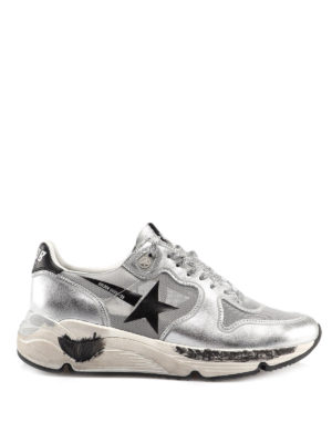 GOLDEN GOOSE: trainers - Running silver leather blend sneakers