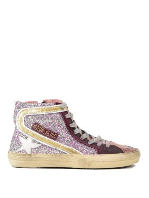 Golden Goose: trainers - Slide glitter and leather sneakers