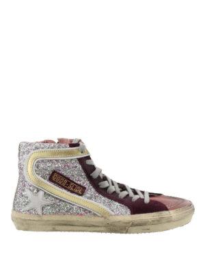 GOLDEN GOOSE: sneakers - Sneaker Slide in pelle glitterata multicolore