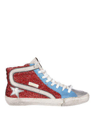 GOLDEN GOOSE: sneakers - Sneaker Slide con lurex rosso