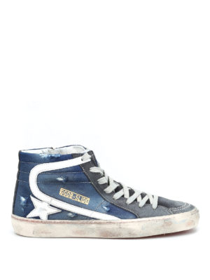 Golden Goose: trainers - Slide ripped denim sneakers