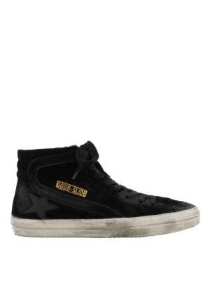 GOLDEN GOOSE: sneakers - Sneaker Slide in suede nero effetto used