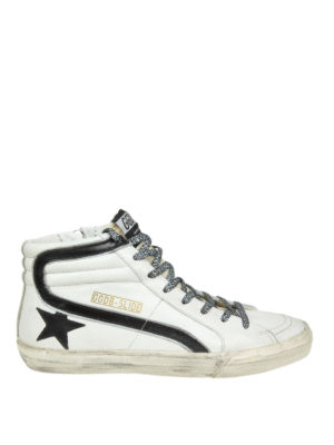 GOLDEN GOOSE: sneakers - Sneaker Slide in pelle bianca