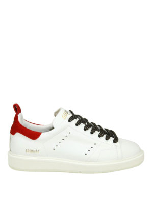 GOLDEN GOOSE: sneakers - Sneaker Starter in pelle con tallone rosso