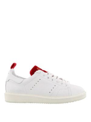 GOLDEN GOOSE: sneakers - Sneaker Starter con inserti in velluto rosso
