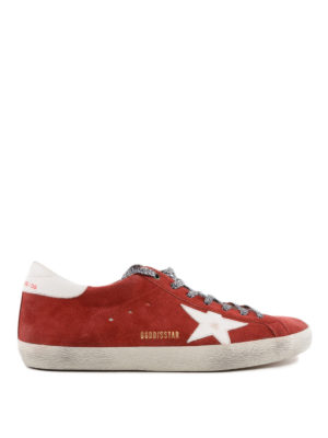 GOLDEN GOOSE: sneakers - Sneaker Superstar in suede lacci animalier