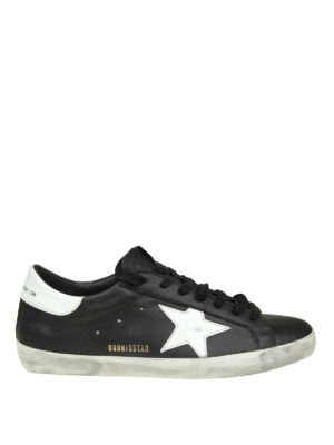 GOLDEN GOOSE: sneakers - Sneaker Superstar in pelle nera