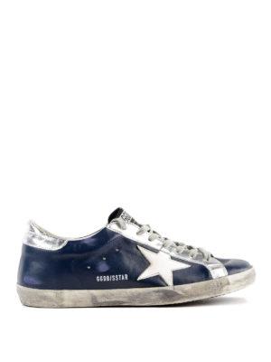 GOLDEN GOOSE: sneakers - Sneaker Superstar in pelle blu spazzolata