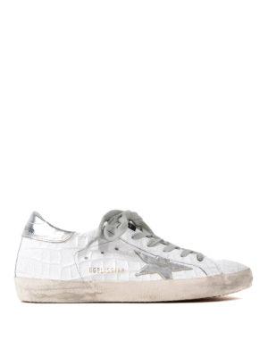 Golden Goose: trainers - Superstar croco print sneakers
