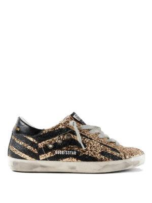 GOLDEN GOOSE: sneakers - Sneaker Superstar motivo chevron glitterato