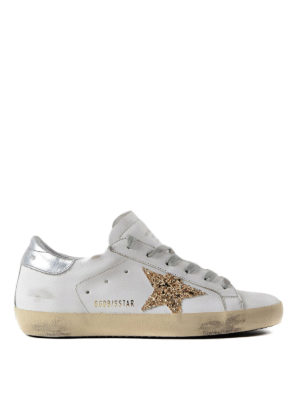 Golden Goose: trainers - Superstar glitter patch sneakers