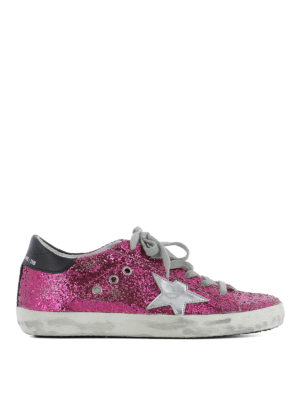 Golden Goose: trainers - Superstar glittered fabric sneakers