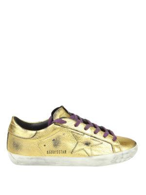 GOLDEN GOOSE: sneakers - Sneaker Superstar in pelle dorata