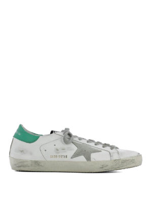 Golden Goose: trainers - Superstar green detail sneakers