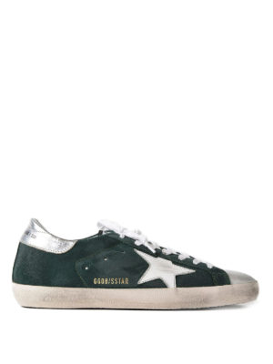 Golden Goose: trainers - Superstar green suede sneakers