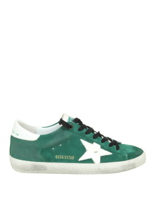 GOLDEN GOOSE: sneakers - Sneaker Superstar in camoscio verde