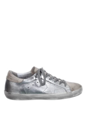 Golden Goose: trainers - Superstar laminated silver sneakers