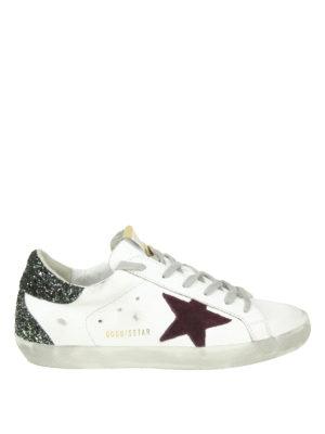 GOLDEN GOOSE: sneakers - Sneaker Superstar in pelle stella glitter