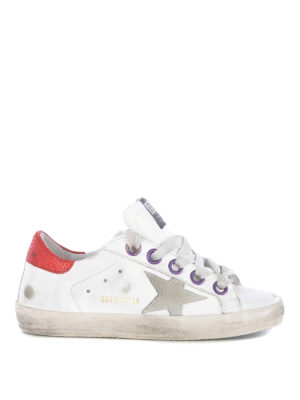 GOLDEN GOOSE: trainers - Superstar leather sneakers with red collar