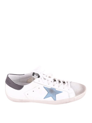Golden Goose: trainers - Superstar light blue star sneakers