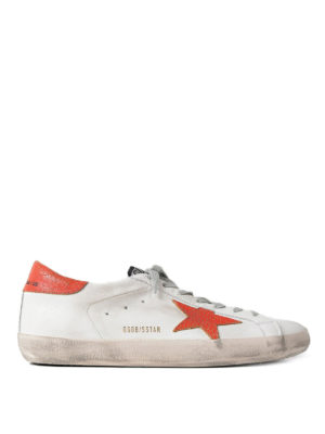 Golden Goose: trainers - Superstar red detailed sneakers