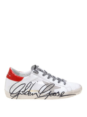 7e6da2afab59 GOLDEN GOOSE: sneakers - Sneaker Superstar in pelle con firma