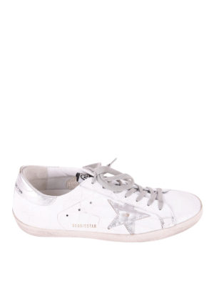Golden Goose: trainers - Superstar silver and croco sneakers
