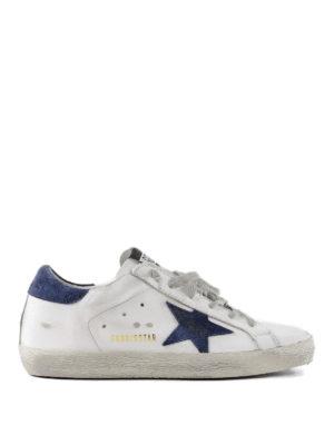 GOLDEN GOOSE: sneakers - Sneaker Superstar con stella blu scuro