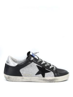 GOLDEN GOOSE: sneakers - Sneaker Superstar con inserti glitter argento