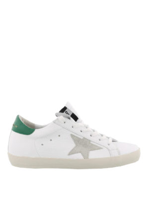 GOLDEN GOOSE: sneakers - Sneaker Superstar con tallone verde smeraldo