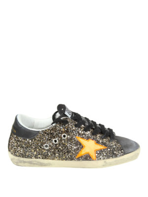 GOLDEN GOOSE: sneakers - Sneaker Superstar in suede glitterato