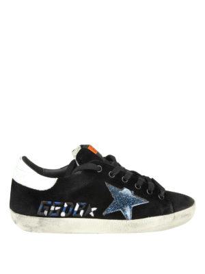 GOLDEN GOOSE: sneakers - Sneaker Superstar in velluto con logo ricamo