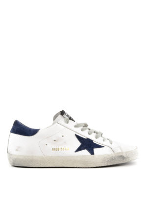 GOLDEN GOOSE: sneakers - Sneaker Superstar bianche e blu