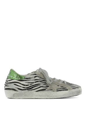 Golden Goose: trainers - Superstar zebra pony hair sneakers