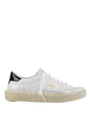 GOLDEN GOOSE: sneakers - Sneaker Tennis in pelle glitterata argento